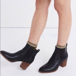 NEW! Madewell Regan black leather ankle boots 9